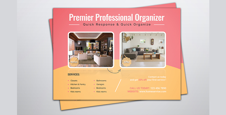 Home Organizer Service Marketing EDDM Postcard - Graphic Reserve