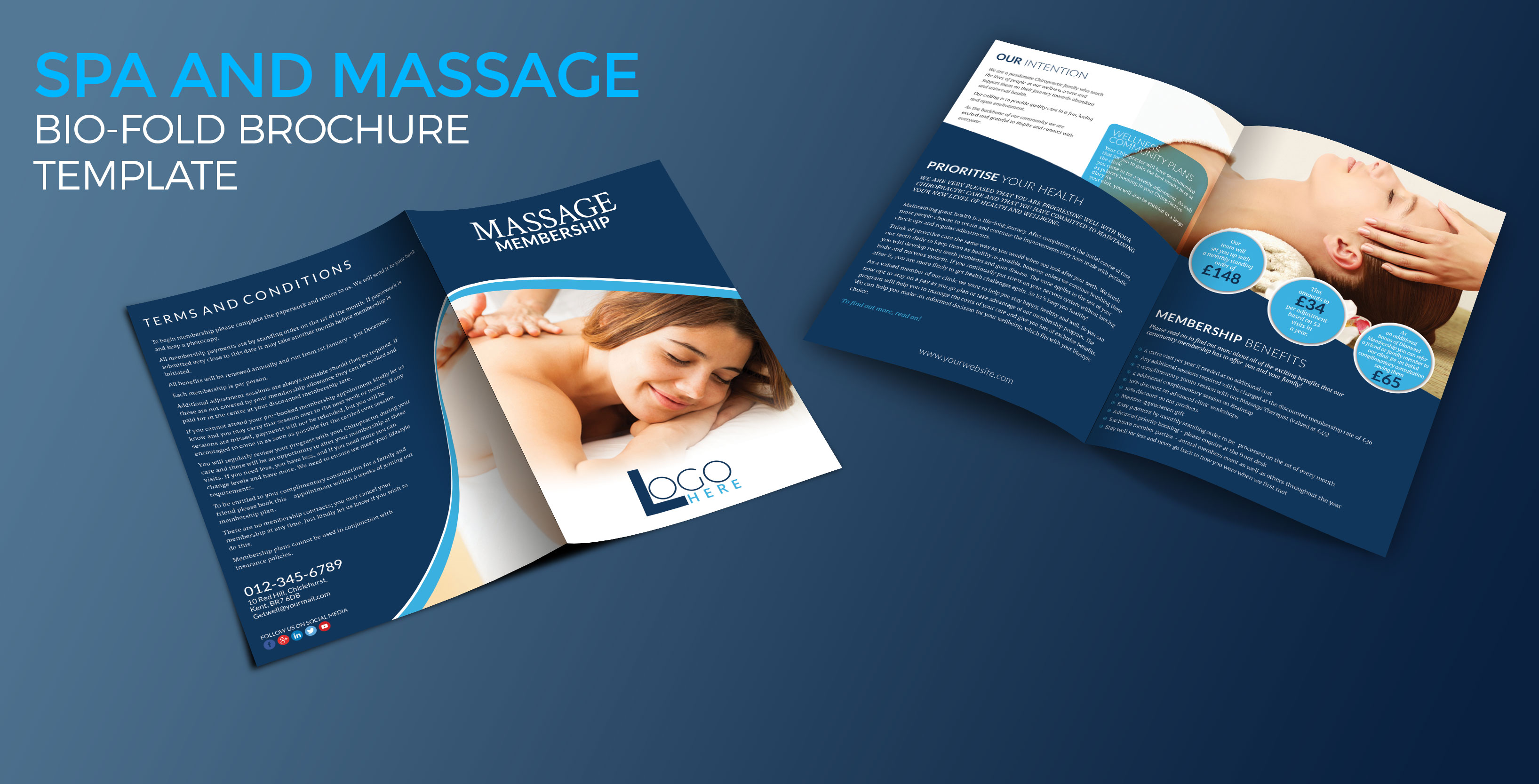 Spa and Massage Bio-fold Brochure Template - Graphic Reserve