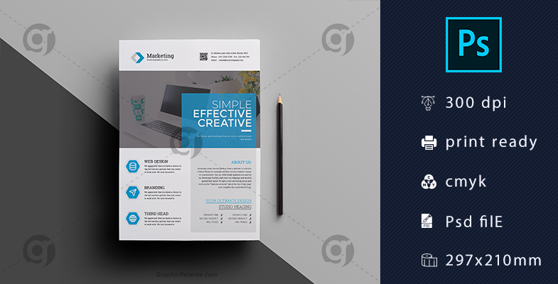 Clean Corporate Flyer Template Download - Graphic Reserve