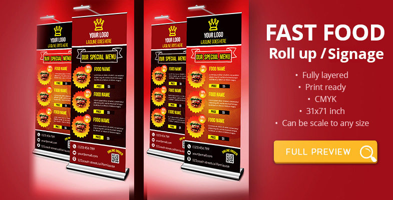 Fast Food Roll-up Signage Template Download - Graphic Reserve