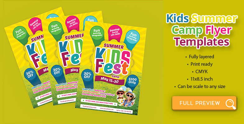 kids summer party camp flyer free psd download