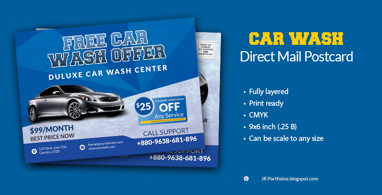 Car Wash Service Eddm Postcard Template Cover