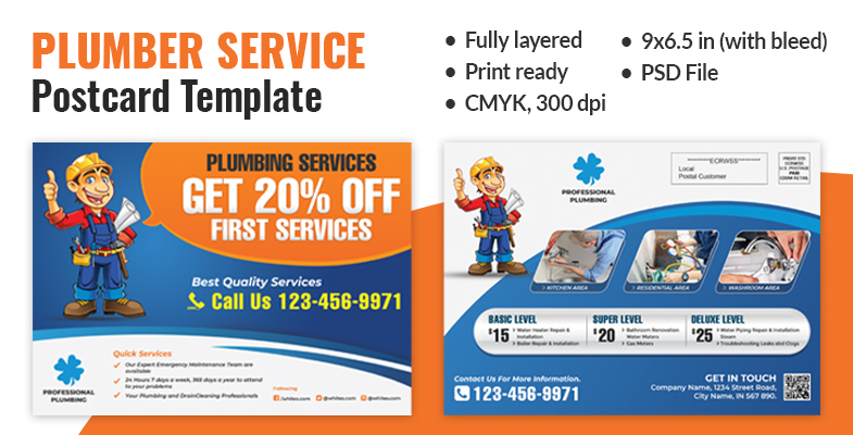 Plumber Service Postcard Template - Graphic Reserve