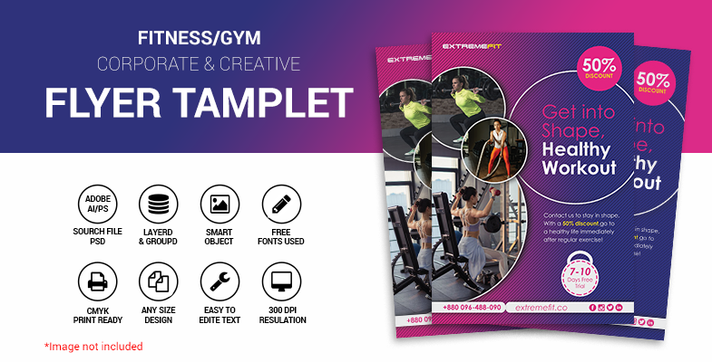 Fitness gym creative flyer Tamplete