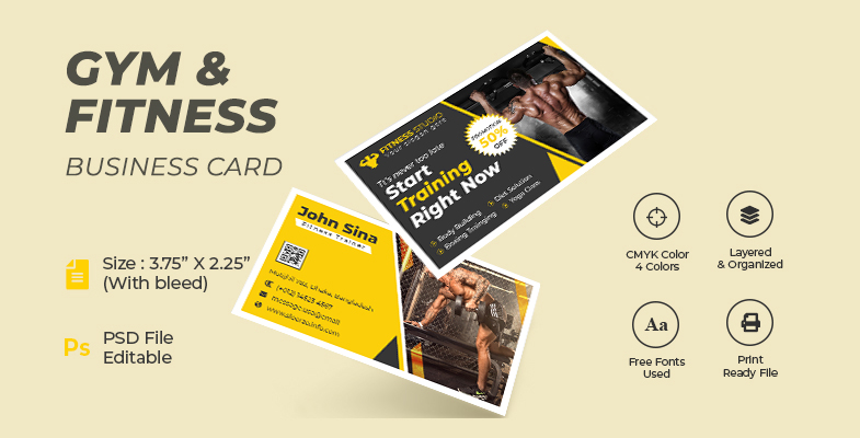 Gym and Fitness Training Center Business Card