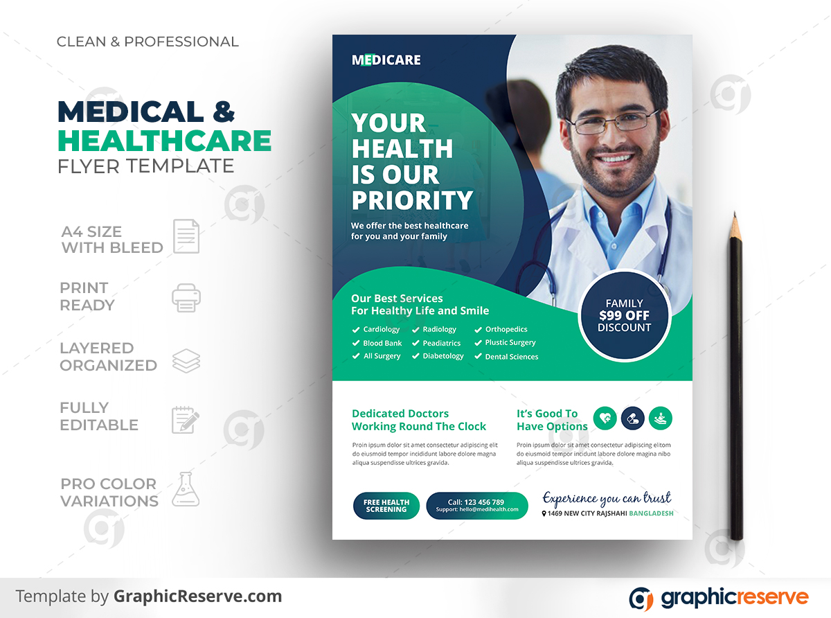 Medical & Healthcare Flyer Template - Graphic Reserve With Regard To Pharmacy Brochure Template Free