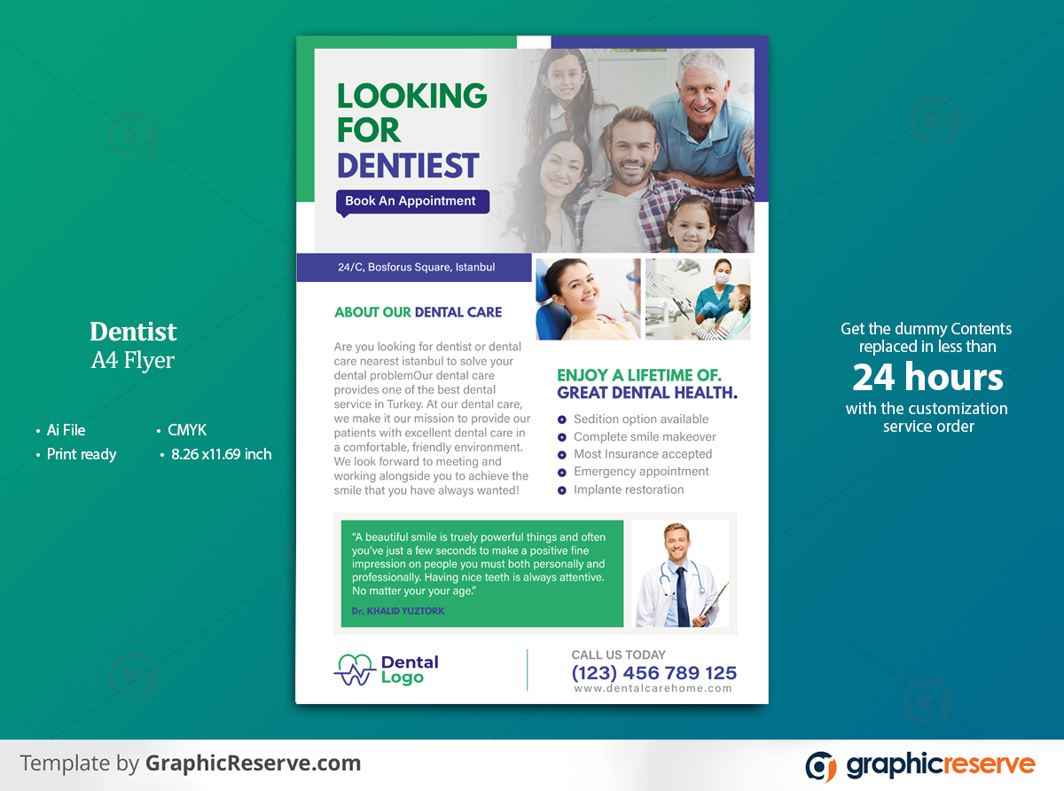 Dentist A4 Flyer by taashiq275 1