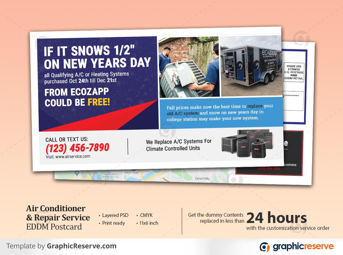 Air Conditioner Repair Service EDDM Postcard