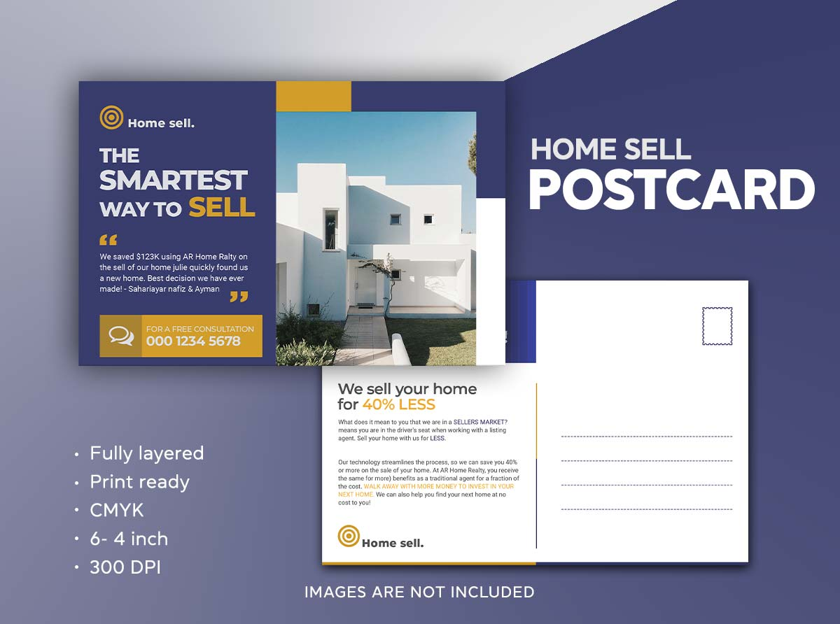 Real estate Hous for sale postcard design template by Sahariya