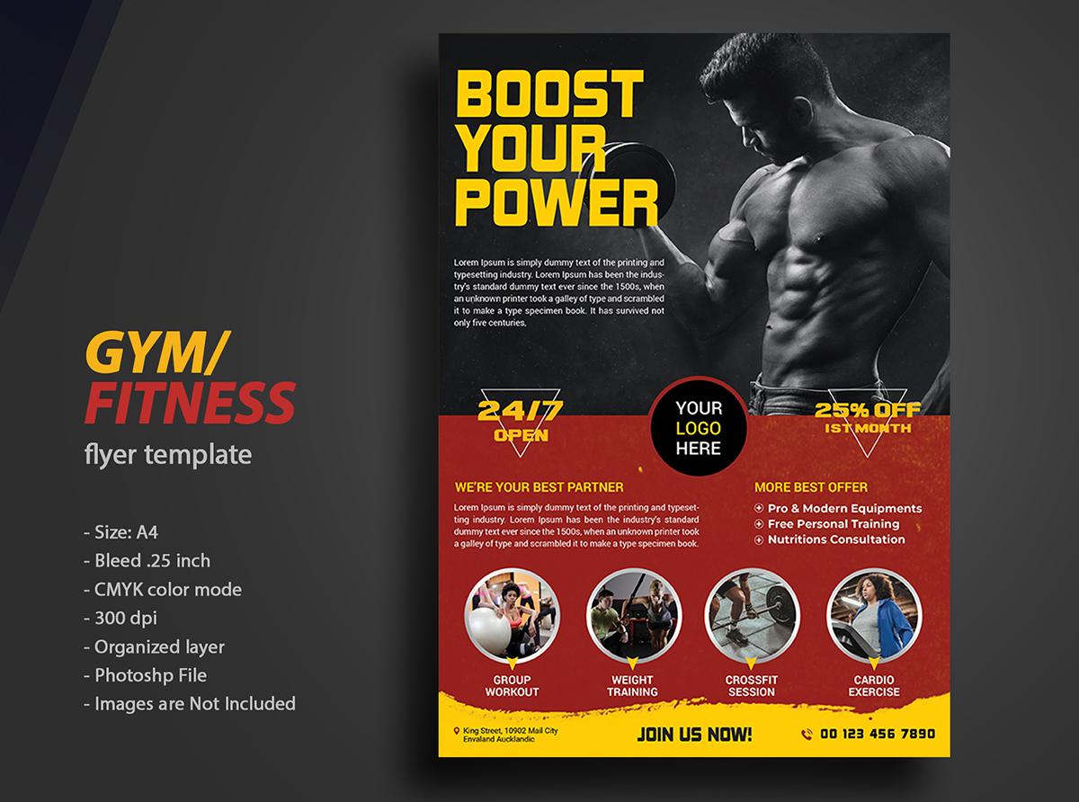 Gym Fitness flyer Telmplate Design . 2