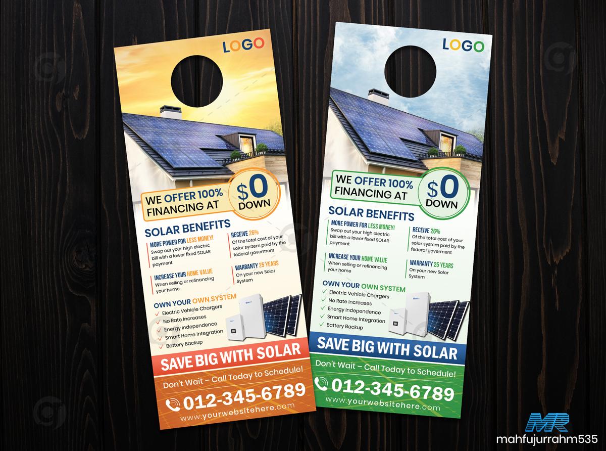 01 Solar Energy Door Hanger Design Template