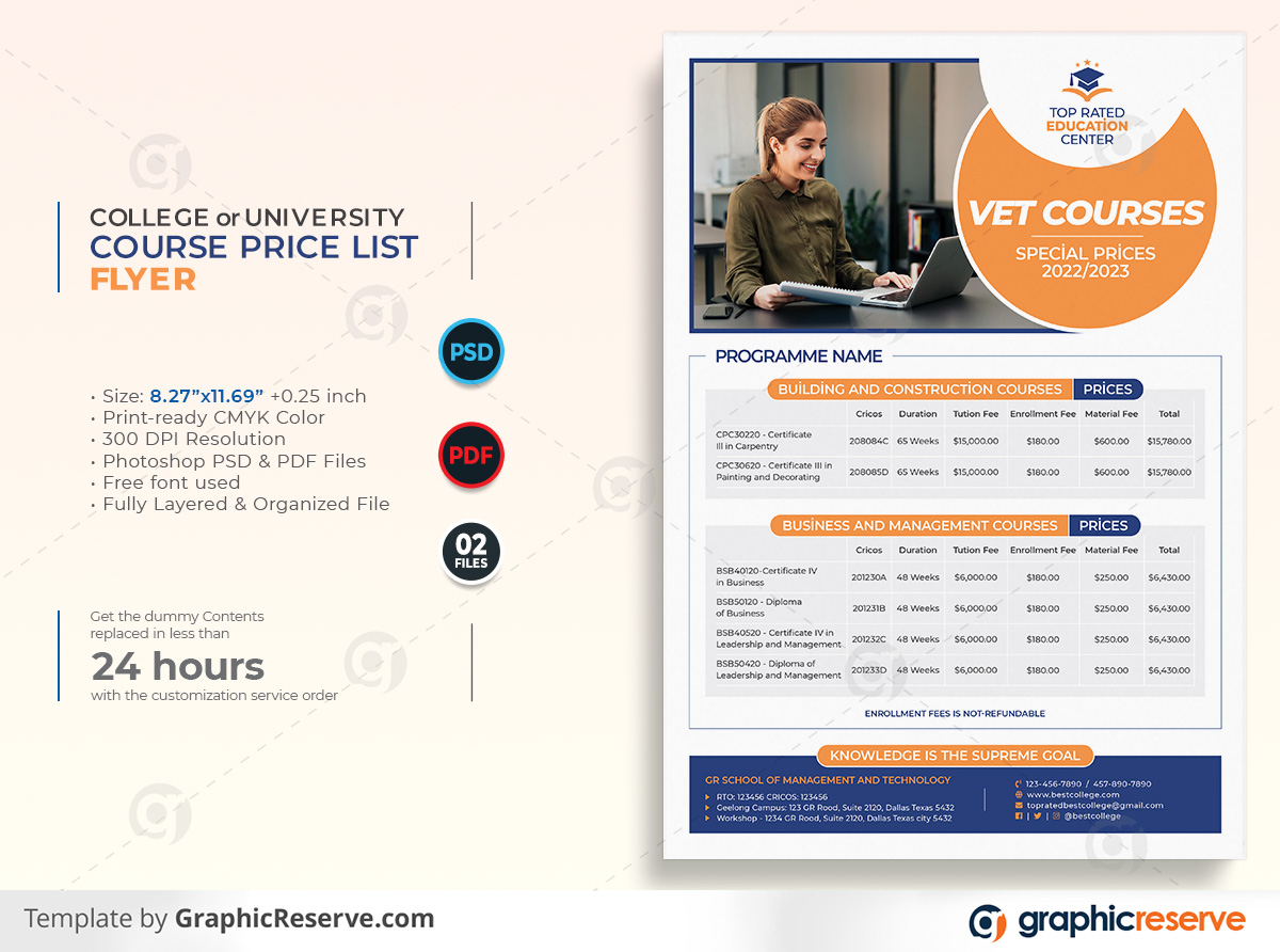 College or University Course Price List Flyer template by didargds on Graphic Reserve College Course University Course Course Price List Flyer v1