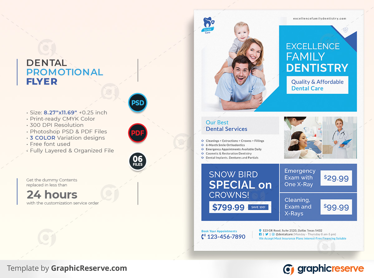 Dental Healthcare Promotional Flyer template by stockhero on Graphic Reserve Promotion Flyer 1