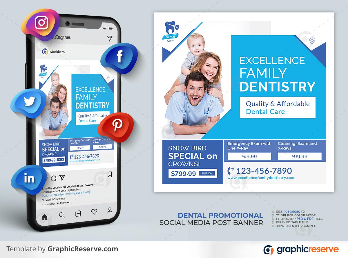 Dental Healthcare Social Media Post template by stockhero on Graphic Reserve dental dentist dentistry v1 2