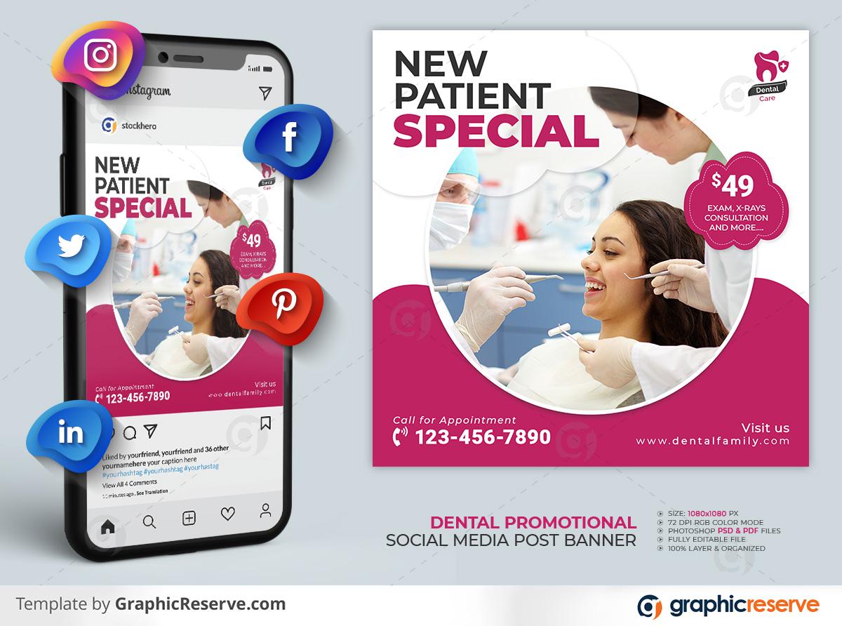 Dental Healthcare Social Media Post template by stockhero on Graphic Reserve dental dentist dentistry v1 3