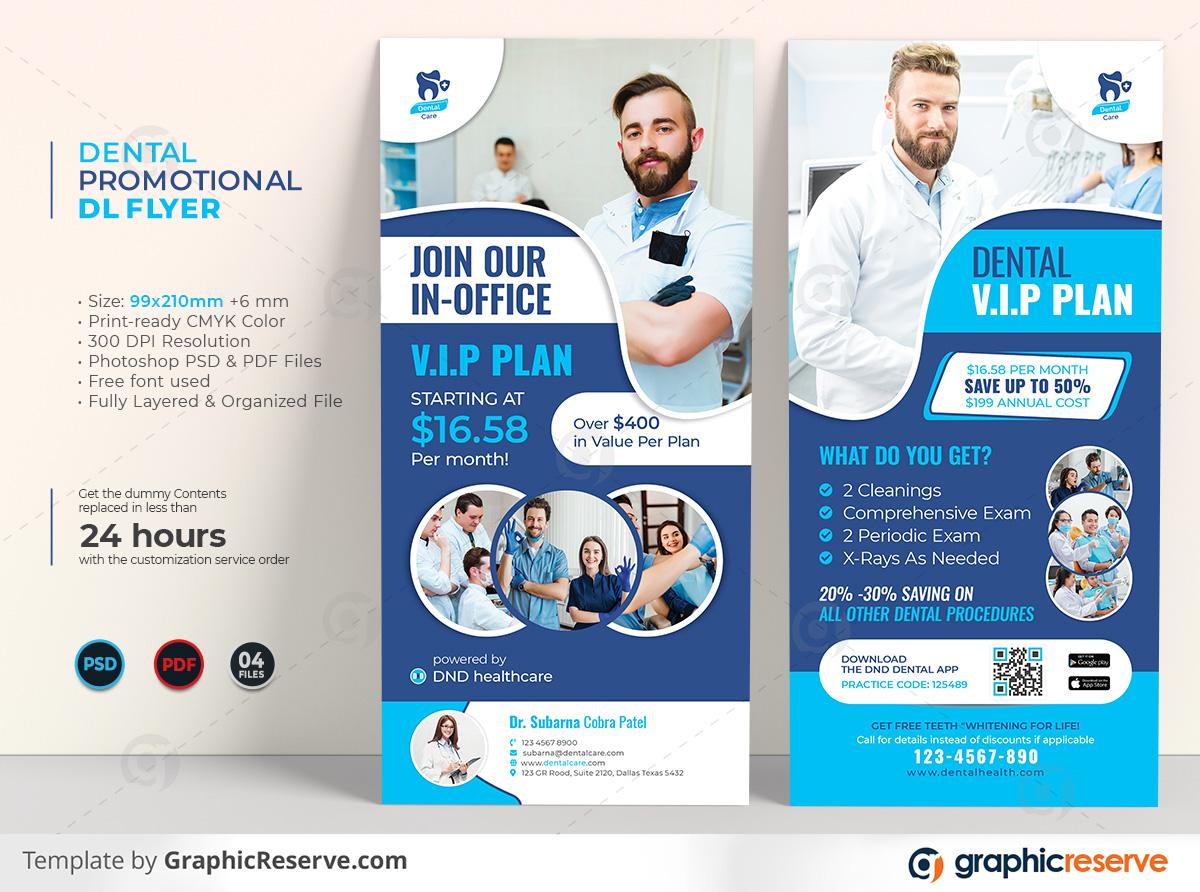 Dental Promotional DL Flyer template by stockhero on Graphic Reserve Dental Dentist Dentistry Promotional flyer DL Flyer v1
