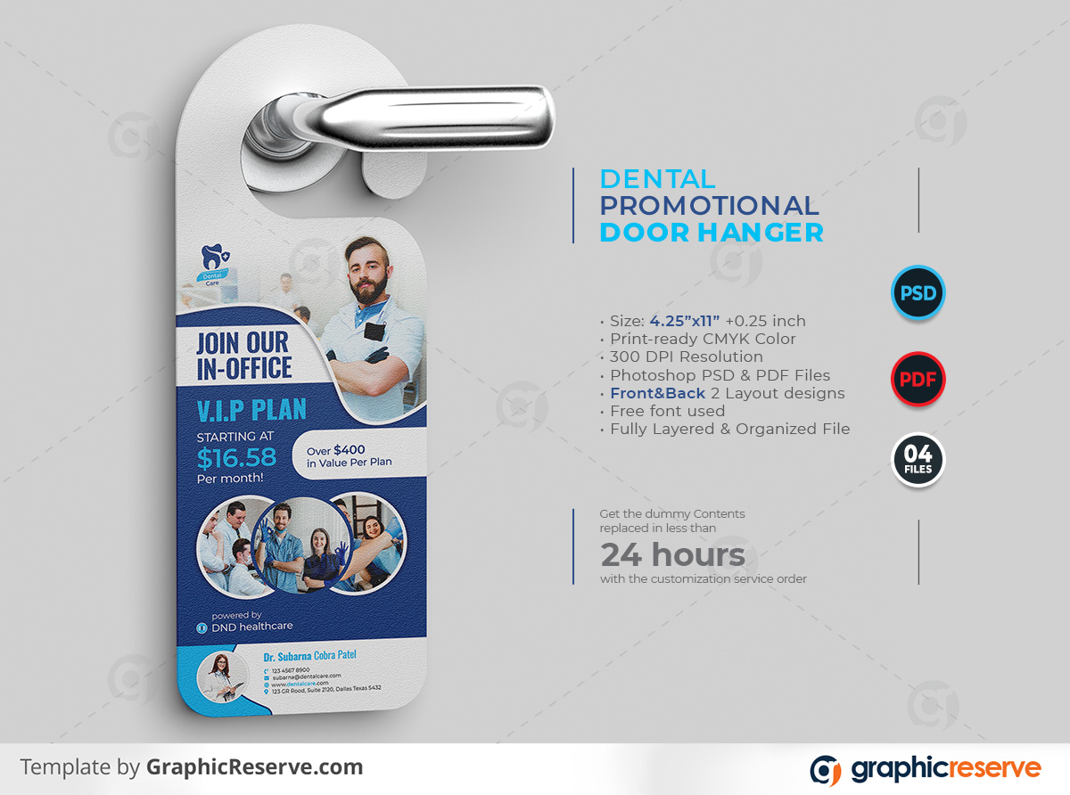 Dental Promotional Door Hanger template by stockhero on Graphic Reserve Dental Dentist Dentistry Promotional Door Hanger Door Hanger v1