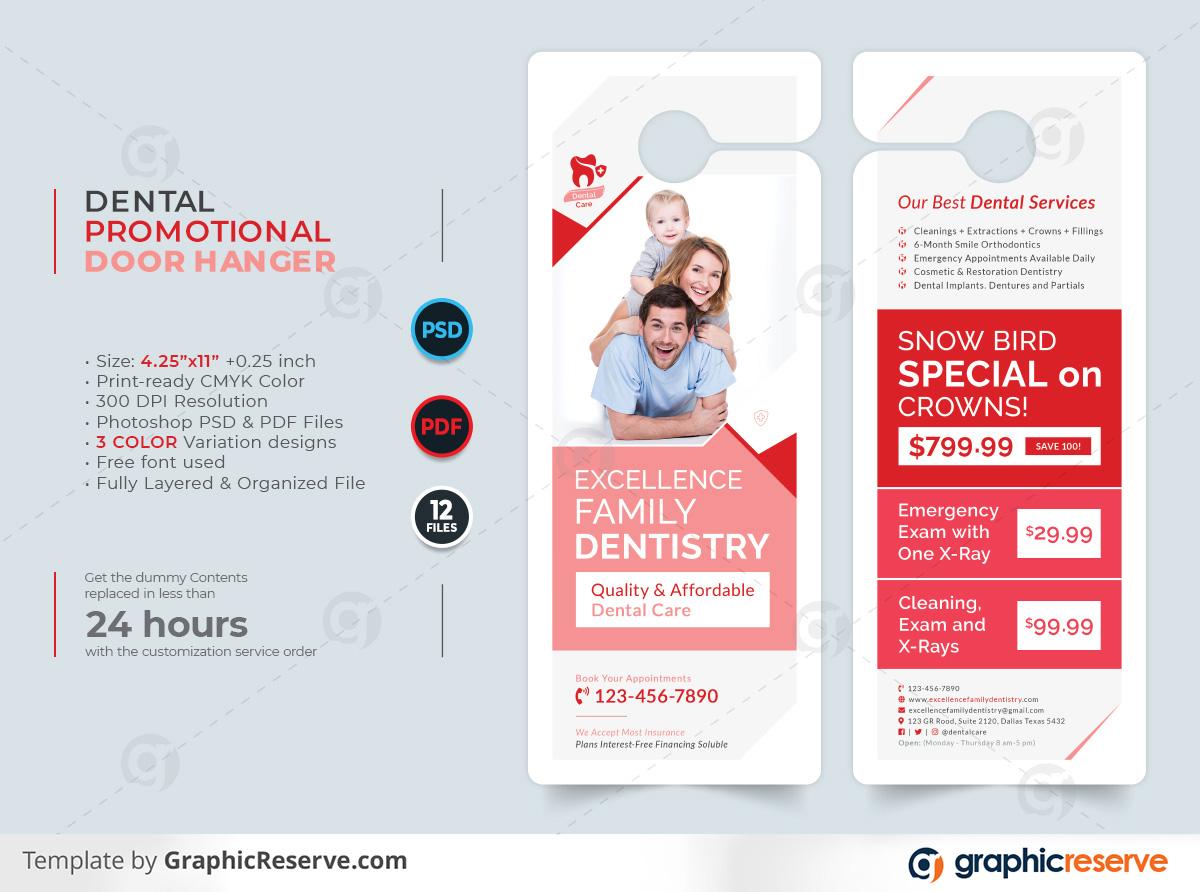 Dental Promotional Door Hanger template by stockhero on Graphic Reserve Dental Door Hanger v1