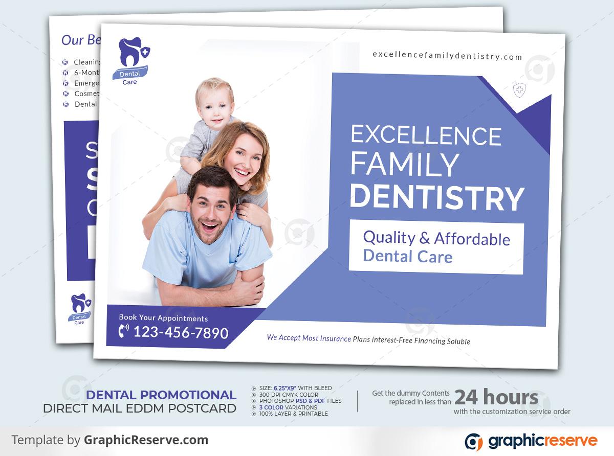 Dental Promotional EDDM Postcard by stockhero Dentistry Postcard Direct Mail EDDM Postcard Dental Postcard