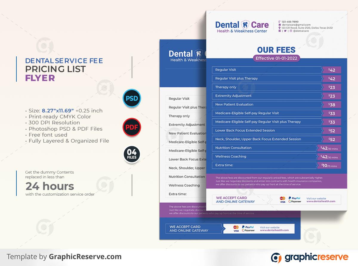Dental Services Fee Pricing List Flyer template by stockhero on Graphic Reserve dental dentist dentistry Flyer v1 1