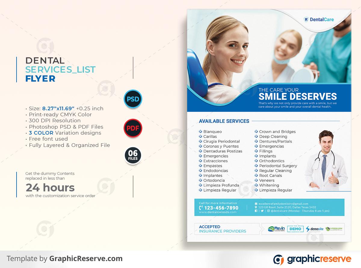 Dental Services List Flyer template by stockhero on Graphic Reserve dental dentist dentistry v1