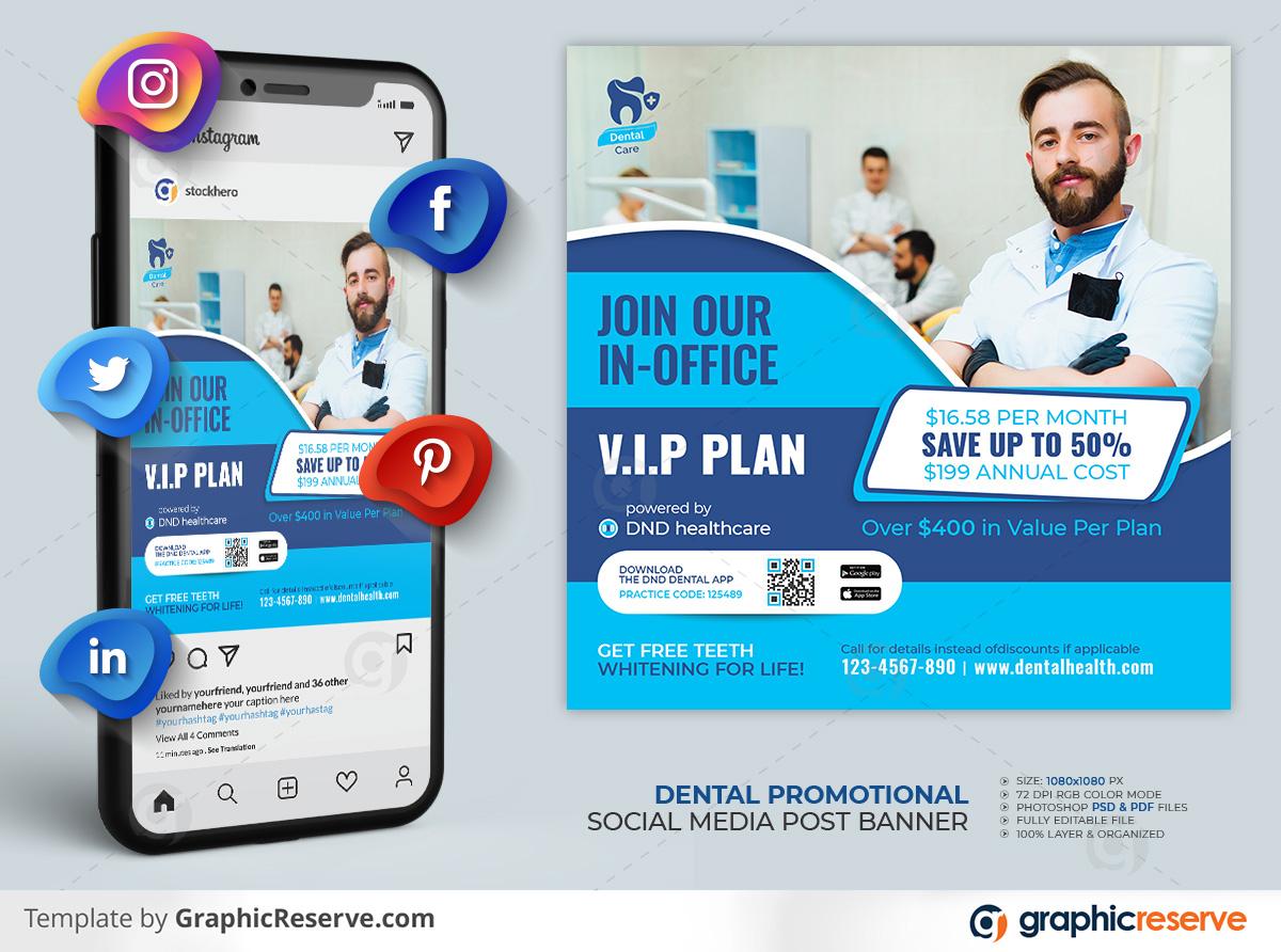 Dental Social Media Post template by stockhero on Graphic Reserve Dental Dentist Dentistry Promotional Post Social Media Post v1 1