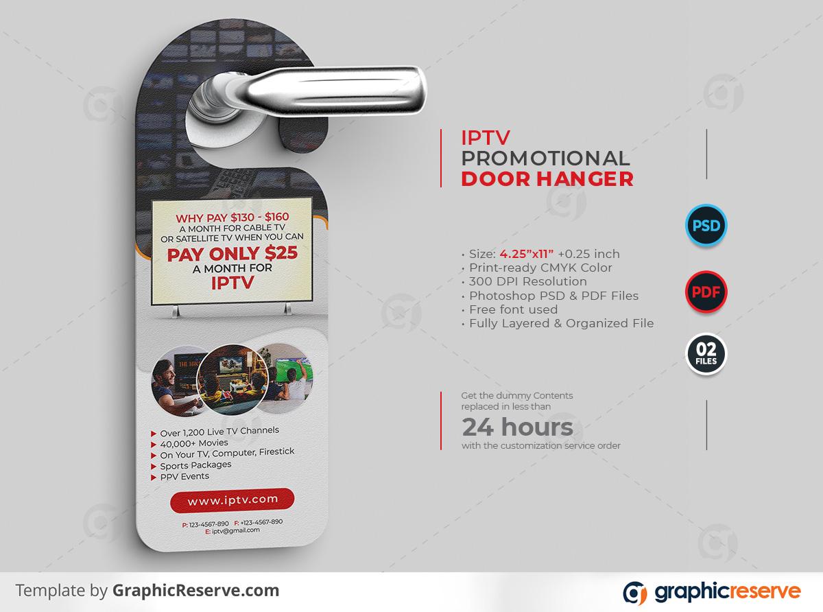 IPTV Promotional Door Hanger template by stockhero on Graphic Reserve Promotional Door Hanger Door Hanger IPTV v1
