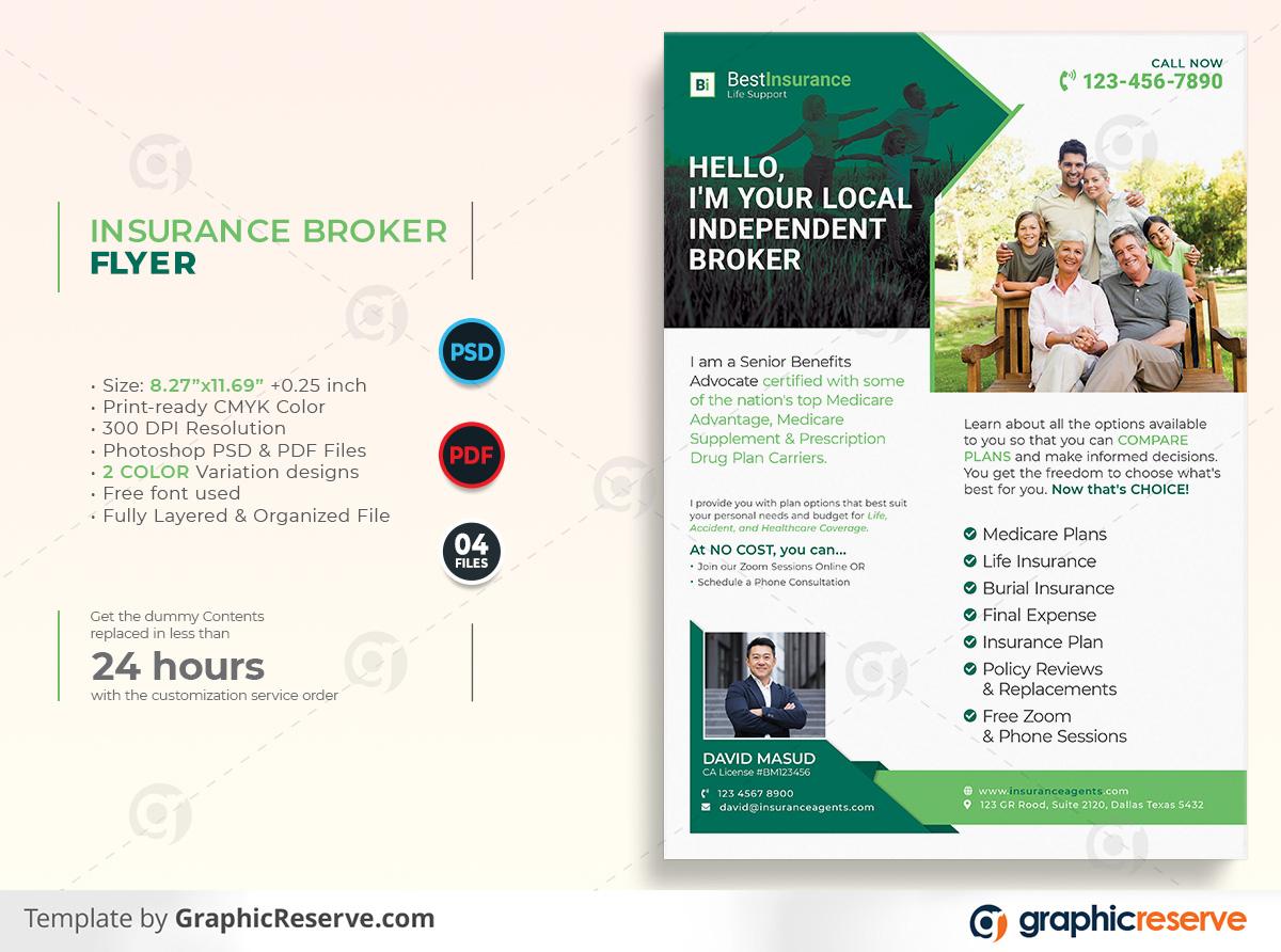 Insurance Broker Flyer template by stockhero on Graphic Reserve Insurance Broker Insurance cooperation corporate law legal v1