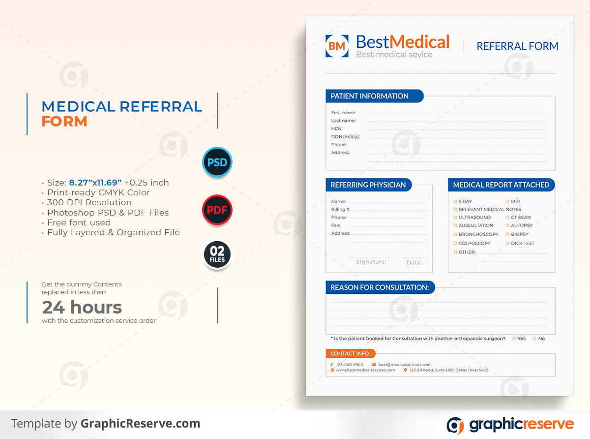 Medical Referral form template by stockhero on Graphic Reserve Referral form Medical form formmedical v1