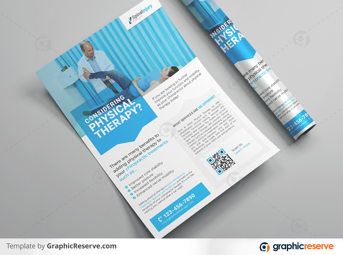 Physical therapy Flyer 2 in 1 template by stockhero on Graphic Reserve Physical therapy Medical Hospital Healthcare v2