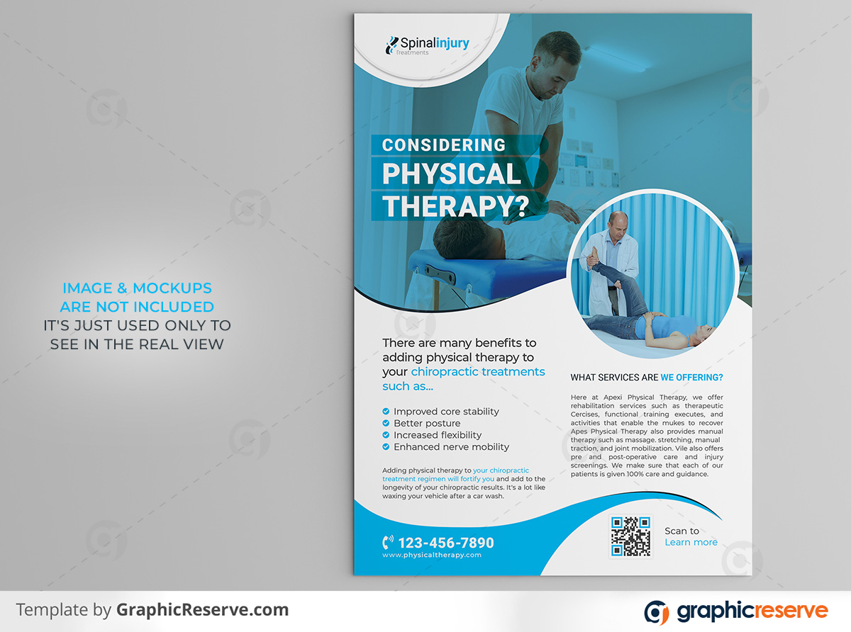 Physical therapy Flyer 2 in 1 template by stockhero on Graphic Reserve Physical therapy Medical Hospital Healthcare v3