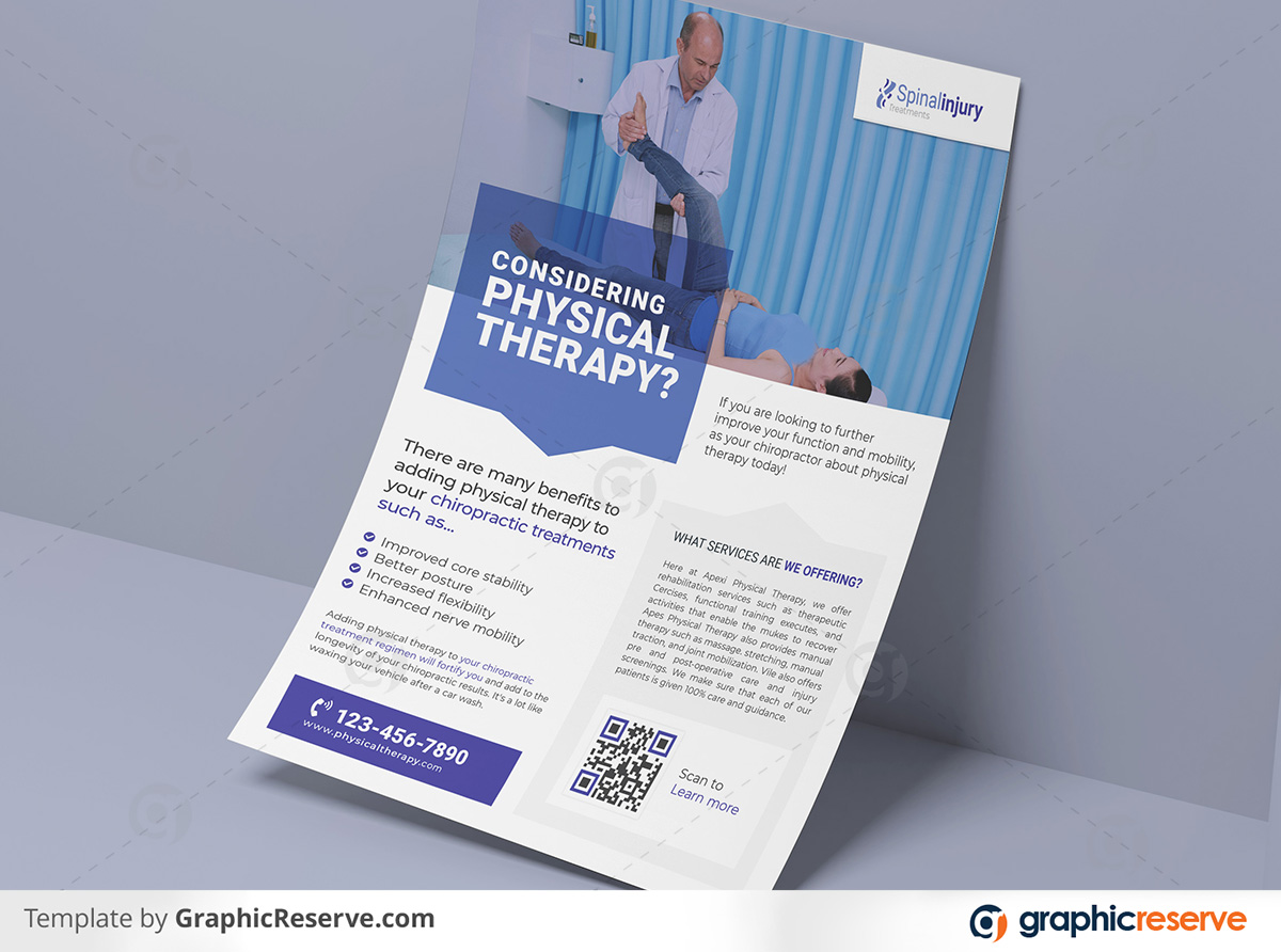 Physical therapy Flyer 2 in 1 template by stockhero on Graphic Reserve Physical therapy Medical Hospital Healthcare v4