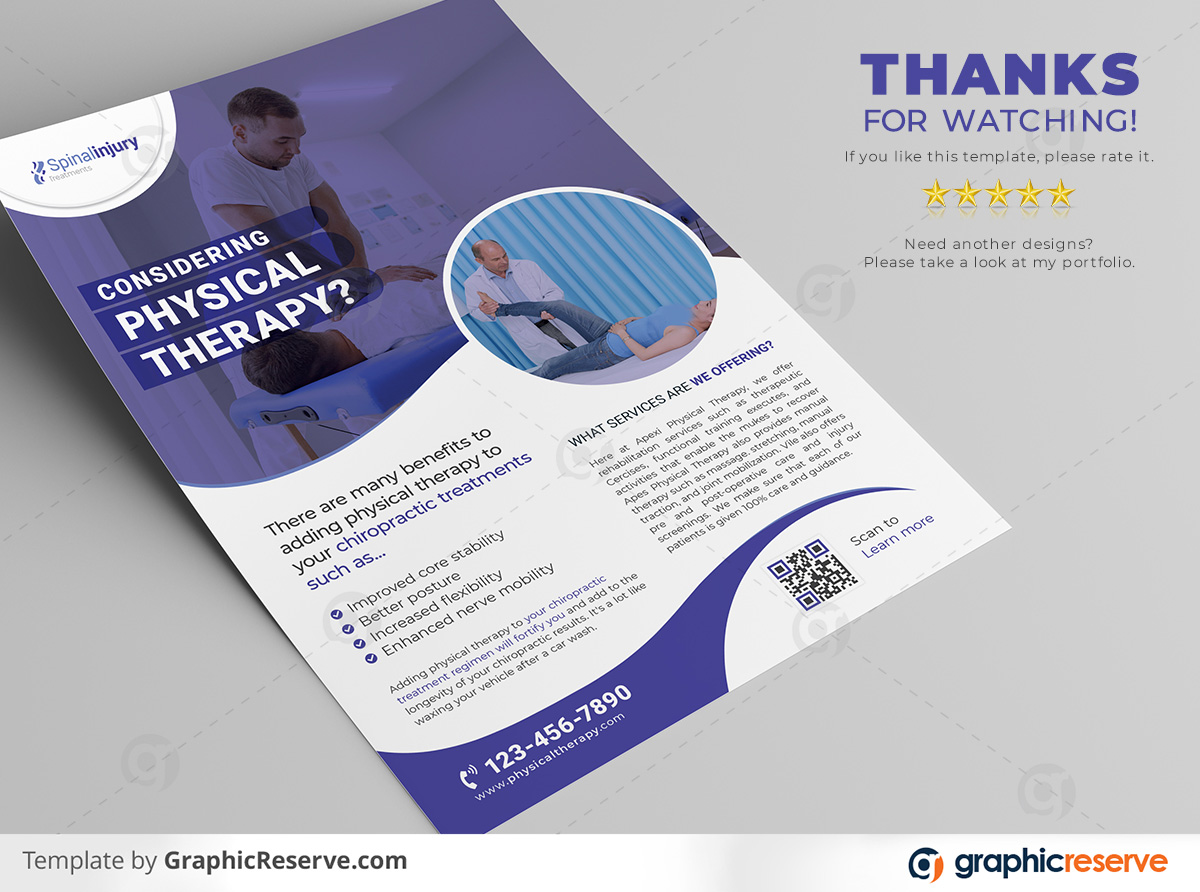 Physical therapy Flyer 2 in 1 template by stockhero on Graphic Reserve Physical therapy Medical Hospital Healthcare v5