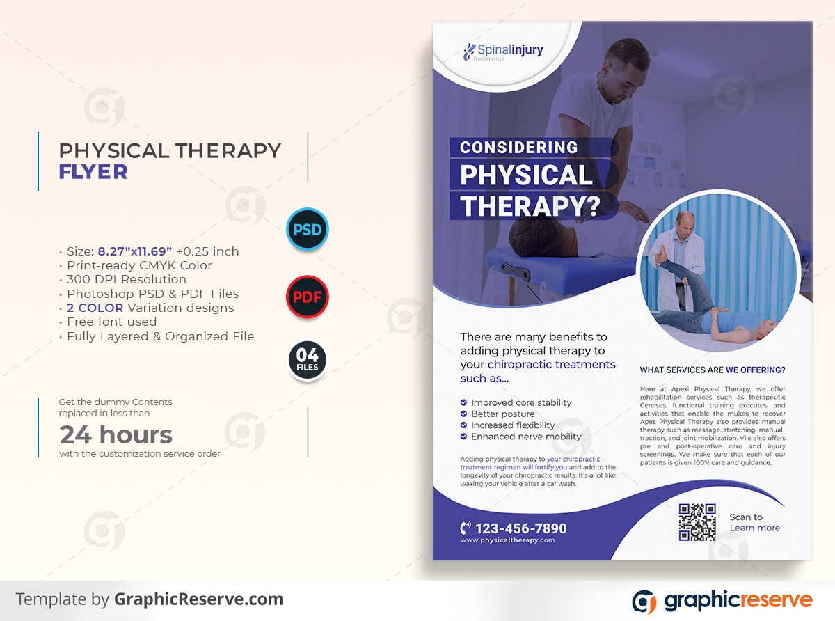 Physical therapy Flyer template by stockhero on Graphic Reserve Physical therapy Medical Hospital Healthcare v1 1