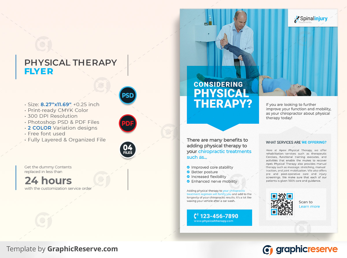 Physical therapy Flyer template by stockhero on Graphic Reserve Physical therapy Medical Hospital Healthcare v1