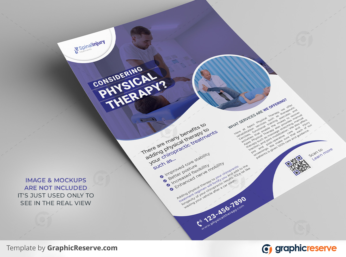 Physical therapy Flyer template by stockhero on Graphic Reserve Physical therapy Medical Hospital Healthcare v2 1