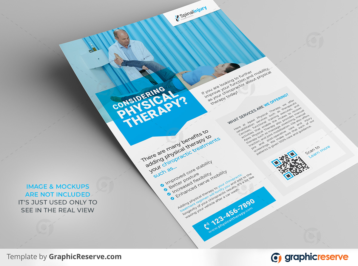 Physical therapy Flyer template by stockhero on Graphic Reserve Physical therapy Medical Hospital Healthcare v2