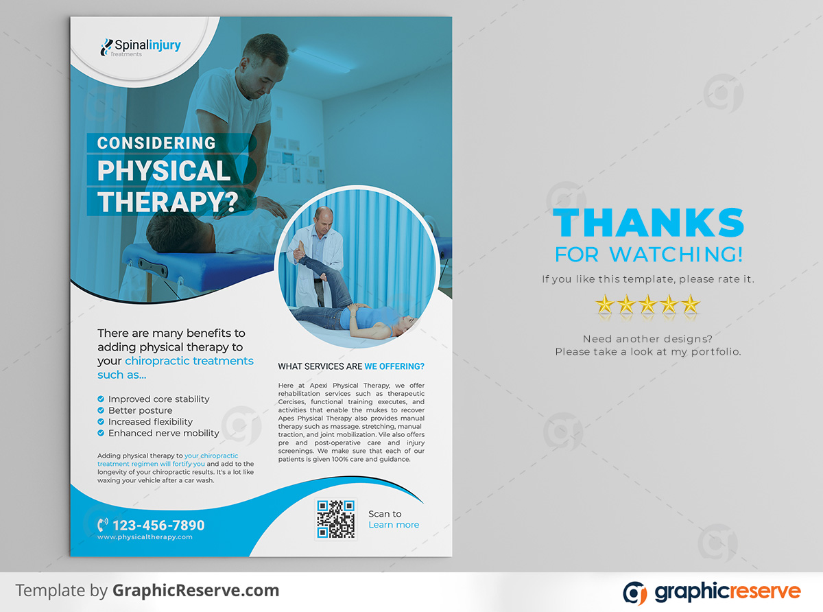 Physical therapy Flyer template by stockhero on Graphic Reserve Physical therapy Medical Hospital Healthcare v3 1