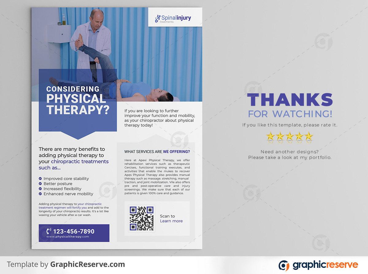 Physical therapy Flyer template by stockhero on Graphic Reserve Physical therapy Medical Hospital Healthcare v3