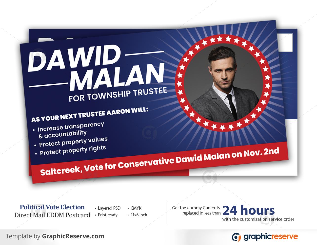 Political Vote Election Direct Mail EDDM Postcard
