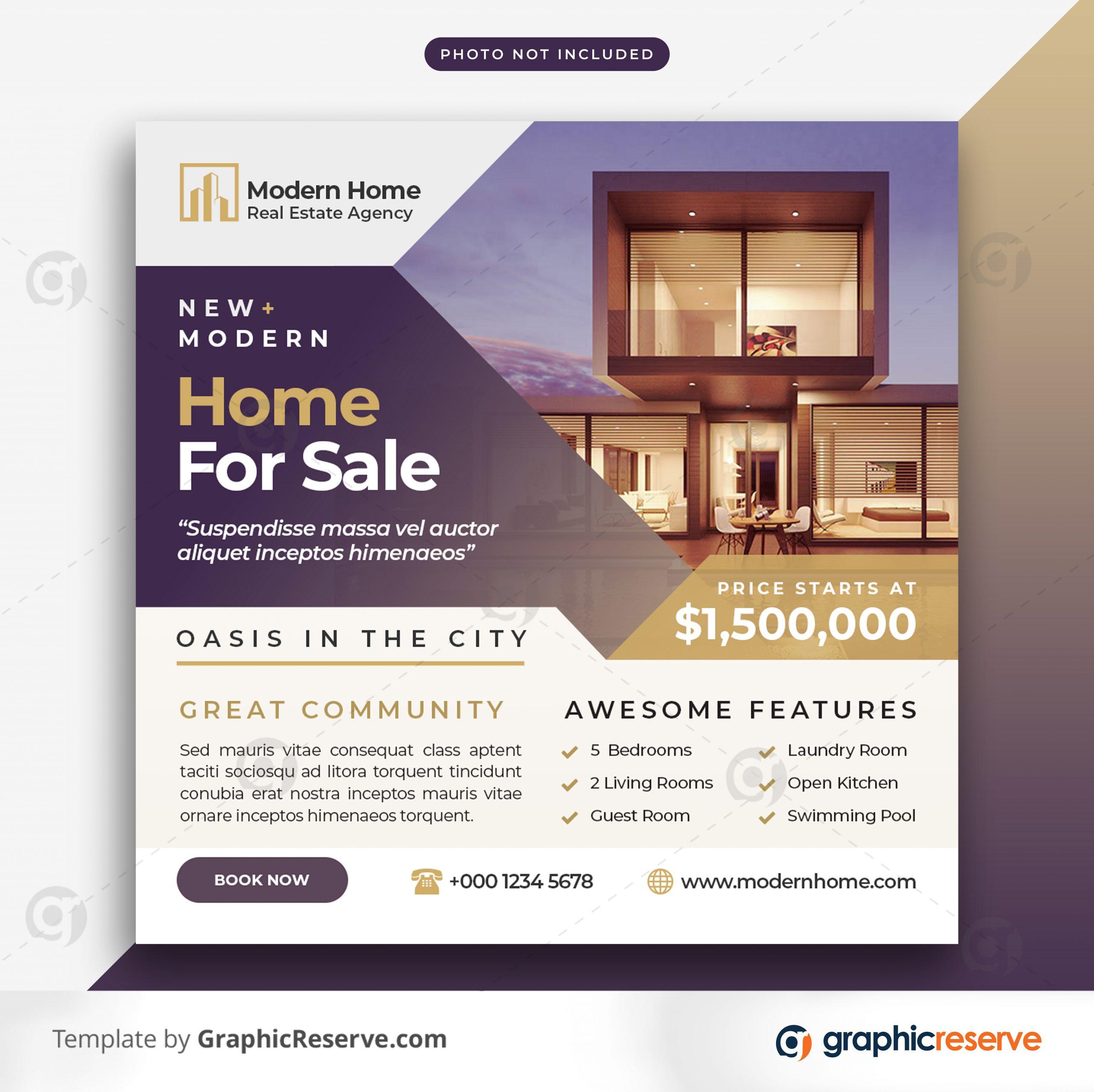 Real estate sale social media banner or square flyer 9