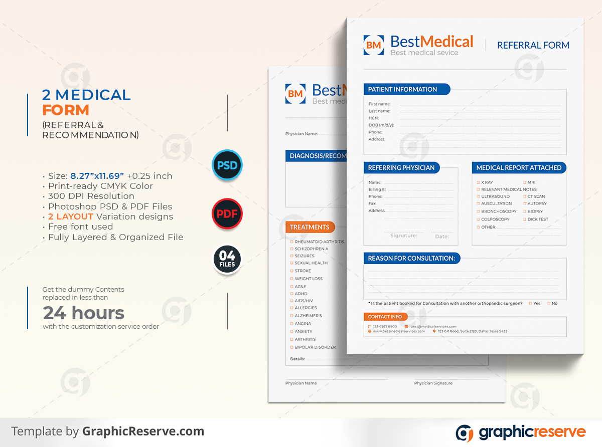 Recommended medical form template by stockhero on Graphic Reserve Referral form Recommendation form Medical form formmedical service list form