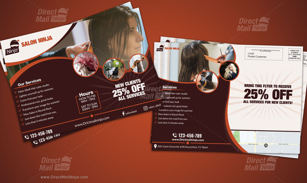 Salon Hair Cutting EDDM Postcard Template Download