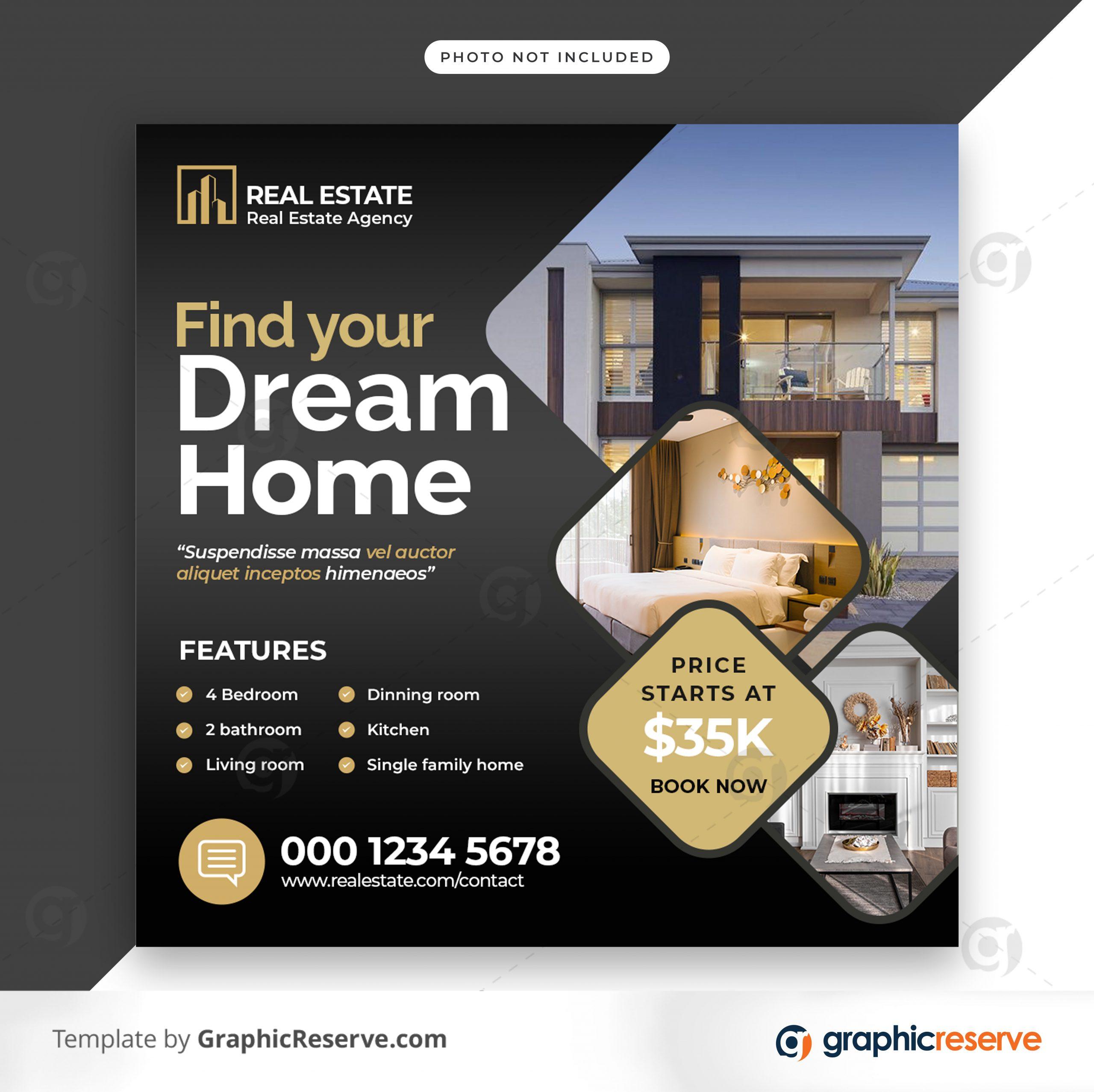 Real estate sale social media banner or square flyer